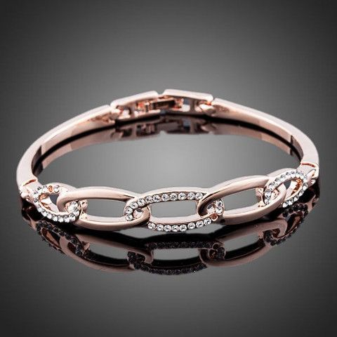 Rose Gold Plated Stellux Austrian Crystals Bangles | Stylish Beth
