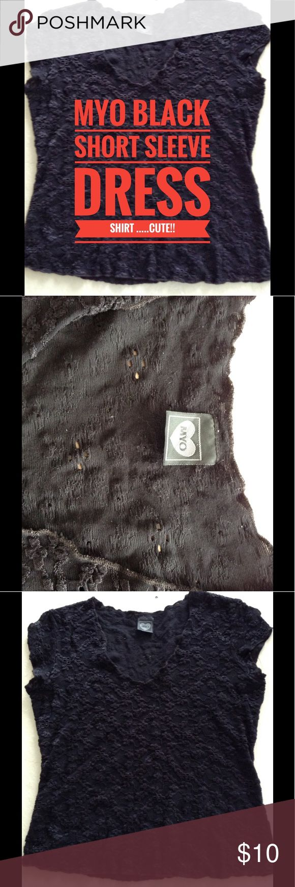 "MYO Black Short sleeve dress shirt Size M...Nice!! MYO Black Short sleeve dress shirt Size Medium.....Top to bottom =20.5""....A to A=17""....Top to bottom of V=8""....Bottom of Shirt =17"".....Nice!! MYO Tops"