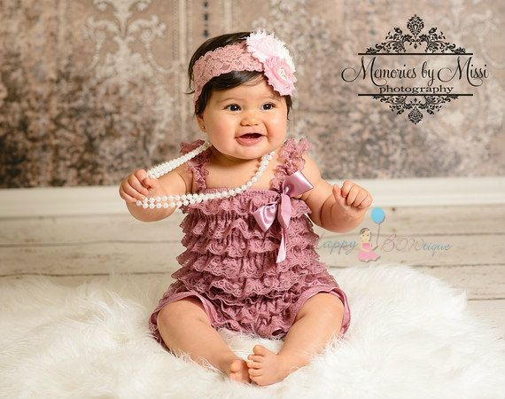 2pcs Romper set, New Dusty Rose Petti Lace Romper, Easter outfit, romper and headband set, baby outfit, Easter,  birthday outfit