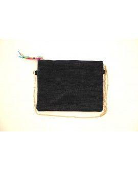 Borsa personalizzabile con tracolla a catena e zip, in tessuto denim e cotone