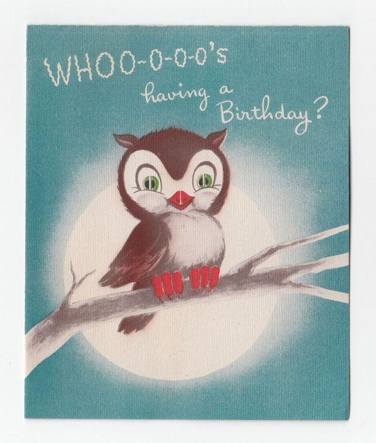 Vintage Greeting Card Owl Norcross 1940s Whoo-o-o-o's Birthday?