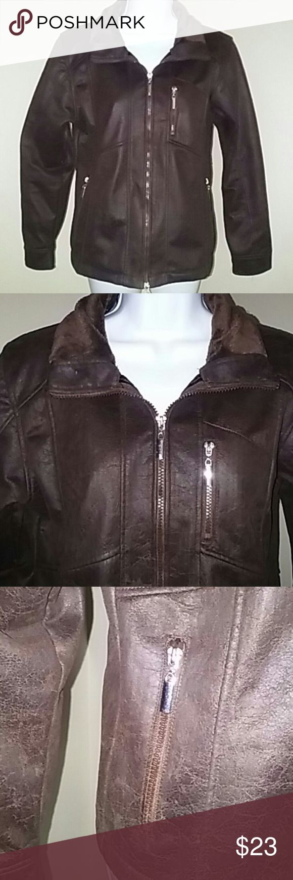 "Wooly Bully Wear Vegan Brown Medium Jacket Zip front super soft 100% poly jacket in a rich chocolate brown.  Machine wash. Outside is faux suede. Collar faux fur. Inside lining is super soft. Armpit to armpit flat 21"". Length from back bottom collar 22.5"". Three front zipper pockets. Wooly Bully Wear Jackets & Coats Utility Jackets"