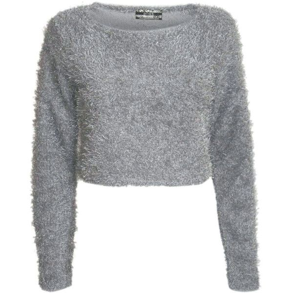 Grey Fluffy Long Sleeve Crop Jumper, Pilot clothing – pilot ($22) ❤ liked on Polyvore featuring tops, sweaters, gray crop top, long sleeve crop sweater, grey sweater, grey top and long sleeve tops