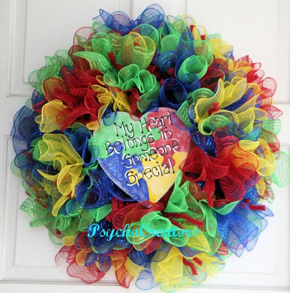 Autism Back To School Deco Mesh Wreath - Teacher Gift Ruffle Wreath - Puzzle Heart Sign - School Multicolor Wreath