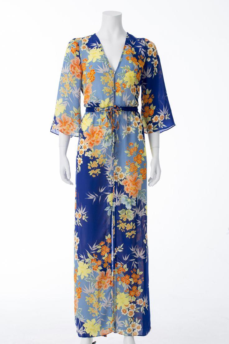 Robe cobalt à fleurs jaunes et orangées, GUESS, 89$ * Cobalt blue dress with yellow and orange floral print, GUESS, $89