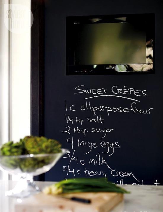 TV concealed in a chalkboard wall