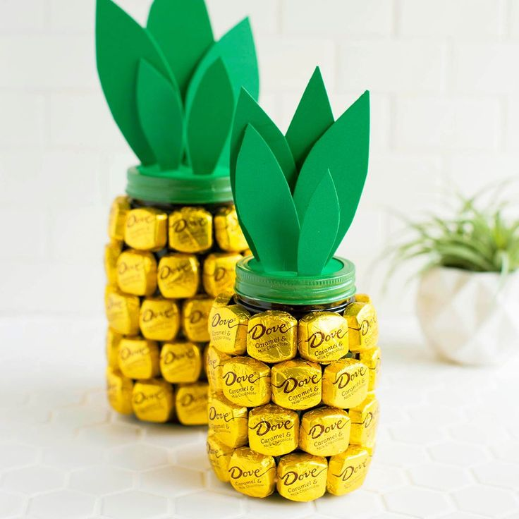 Chocolate covered pineapple jar DIY for Mother's Day! Working with @DOVEChocolateUS #DovePromises #sponsored