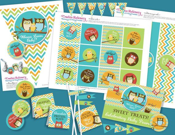 Owl Baby Shower DIY Party Printables Package. Aqua, Orange, and Lime Green Chevron. Owl themed party printables customized just for you. on Etsy, $19.99