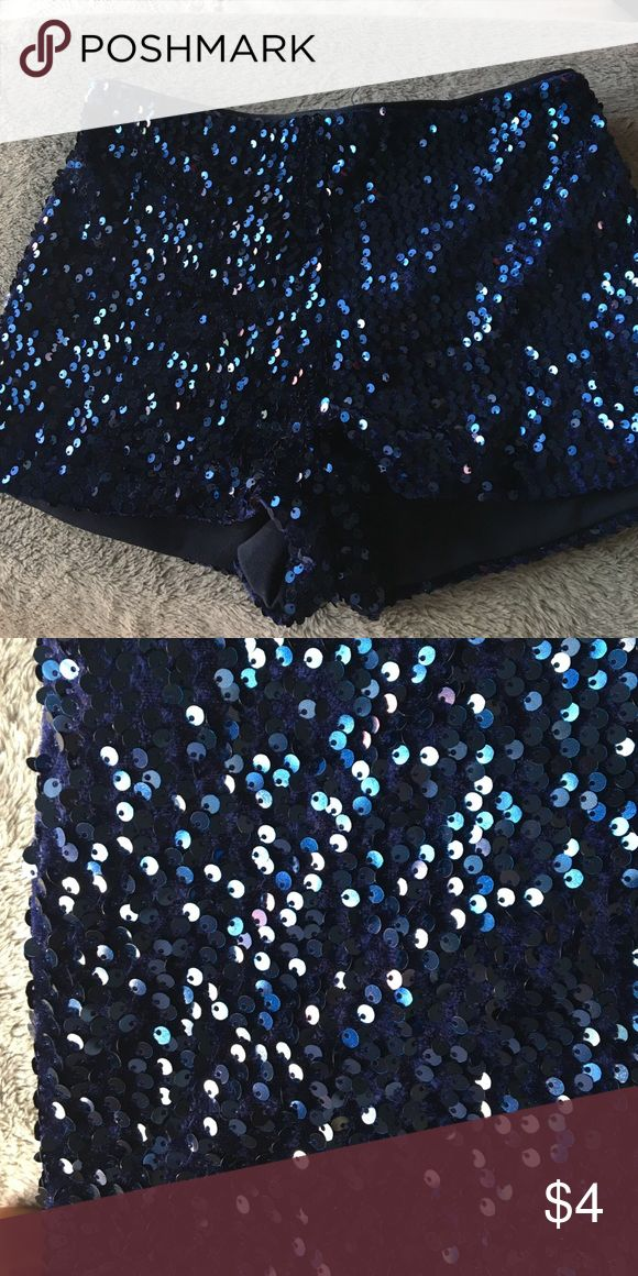 High waisted sequins shorts Dark blue sparkle shorts. Worn on New Years. Just a fun piece to have Forever 21 Shorts