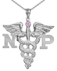 NP Necklace for Nurse Practitioner graduation gifts and jewelry featuring a Pink Sapphire. Available at http://NursingPin.com