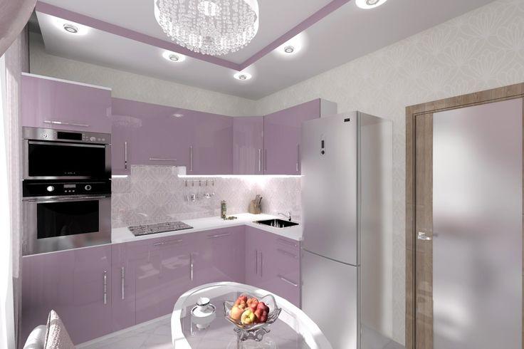 Кухня в нежно-фиолетовых тонах