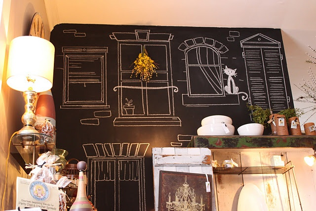 windows drawn with chalk on a wall painted with chalkboard paint! Wall changes with the seasons... or the mood!