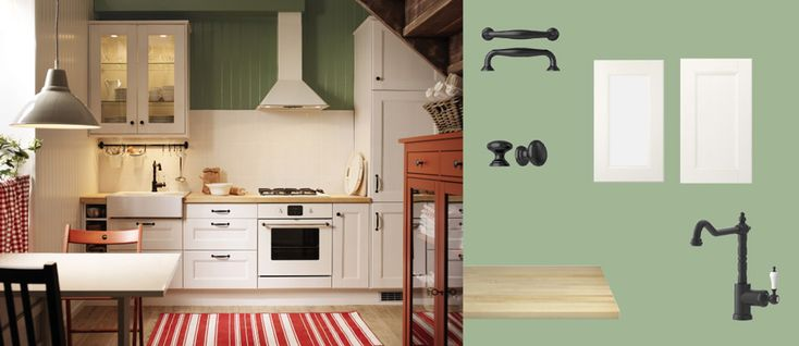 FAKTUM kitchen with RAMSJÖ white doors/drawers/glass-doors, NUMERÄR solid birch worktop and FÅGLAVIK black knobs/handles