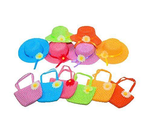 Womdee Süß Sommer Strand Strohhut mit Handtasche für Mädchen