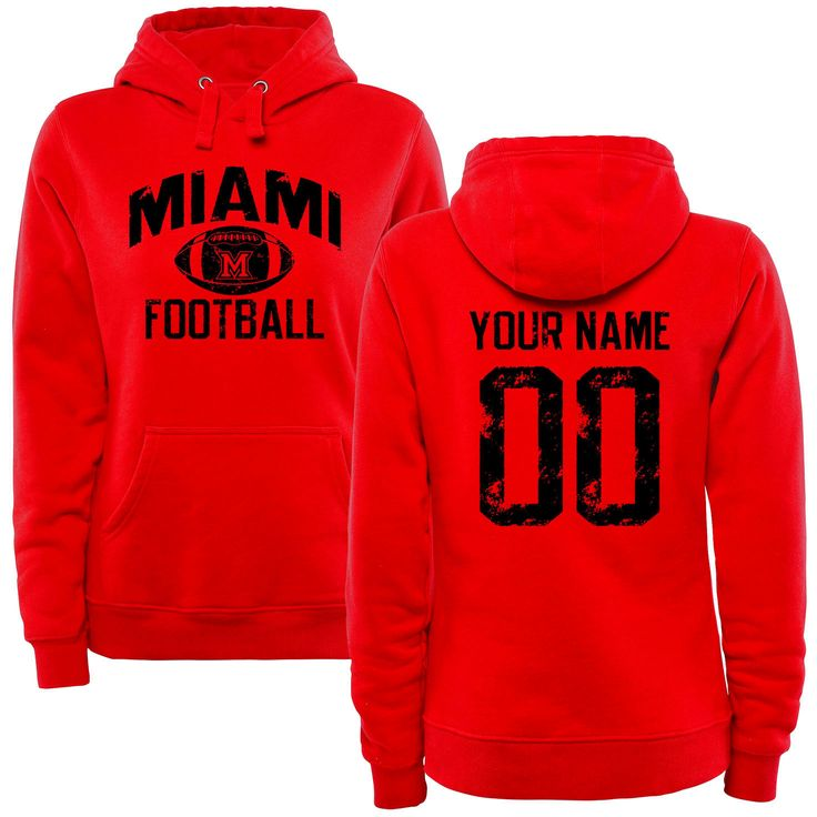 Miami University RedHawks Women's Personalized Distressed Football Pullover Hoodie - Scarlet - $69.99