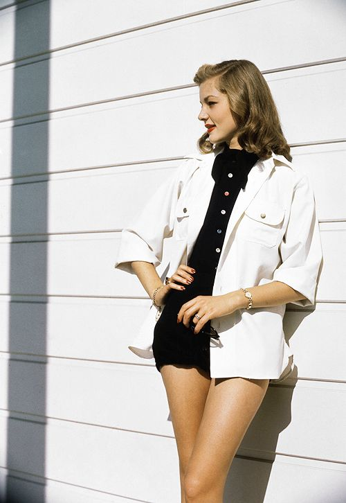 "sinatrra: ""Lauren Bacall, 1945 "" I like how she kept the rest of the outfit simple so it's all about the legs. Perfect balance."