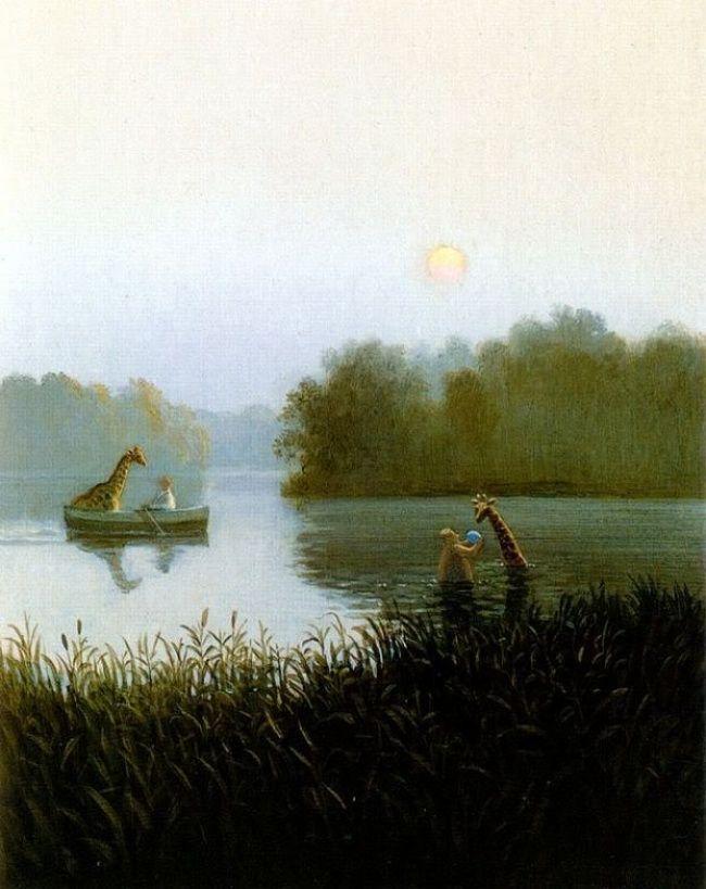 Михаэль Сова — «мастер беззвучного юмора», именно так его иногда называют на родине в Германии. Его творчество часто сравнивают со старыми голландскими и фламандскими мастерами 16-17 веков: те же насыщенные краски и любовь к детальным пейзажам. Михаэль так же рисует на холсте, но не маслом, как может показаться сначала, а прозрачным акрилом. При всём при этом мир художника всё равно иной, не копирующий ничей другой. Здесь животные не просто существуют наравне с людьми.