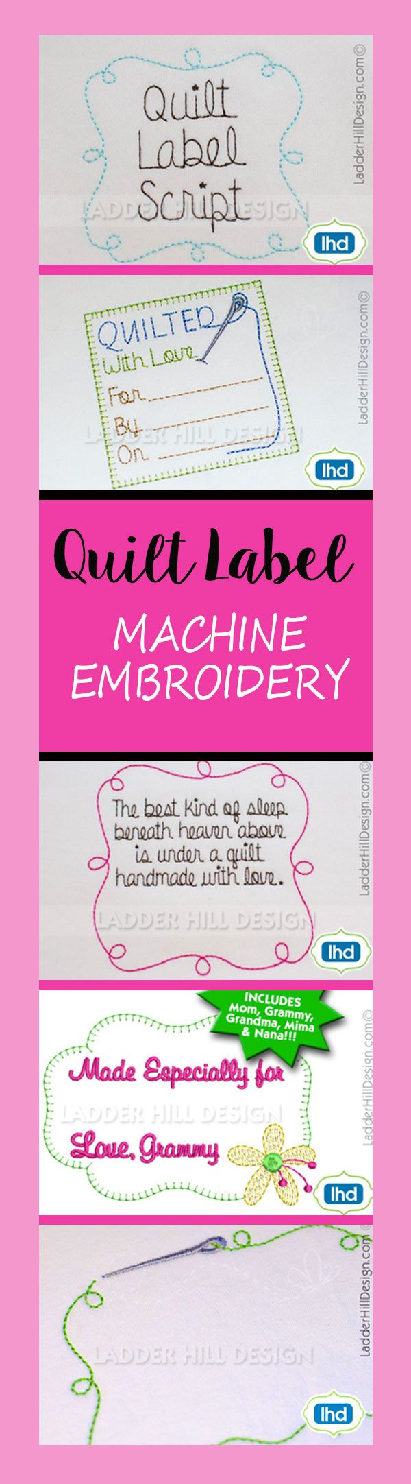 Quilt Label Machine Embroidery, Quilt Label Script, Custom Quilt Label, Quilting Machine Embroidery