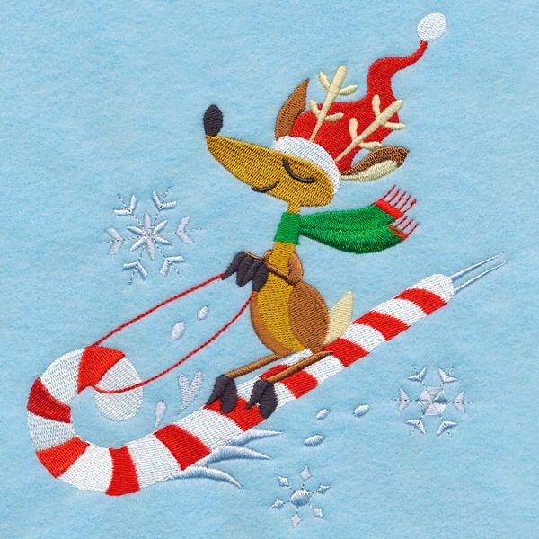 Free Embroidery Design: Sledding Reindeer