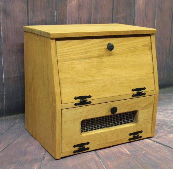 Wooden Bread Box Kitchen Storage Wood Vegetable Potato Bin Primitive Rustic  Cupboard Onion Potatoes Country K