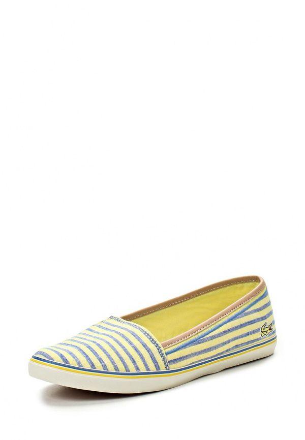 Слипоны Lacoste / Лакост Цвет: голубой, желтый. Материал: текстиль. Сезон…