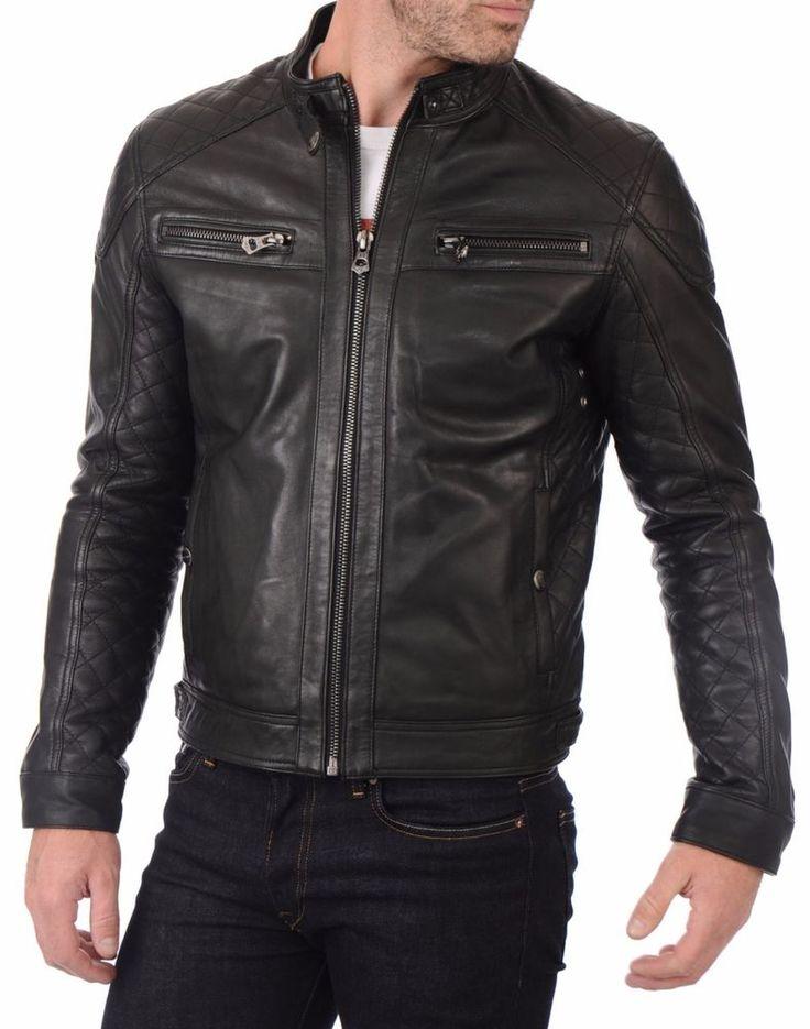 Lambskin Leather Jacket Genuine Mens Stylish Motorcycle Biker Black slim fit X50 #WesternOutfit #Motorcycle