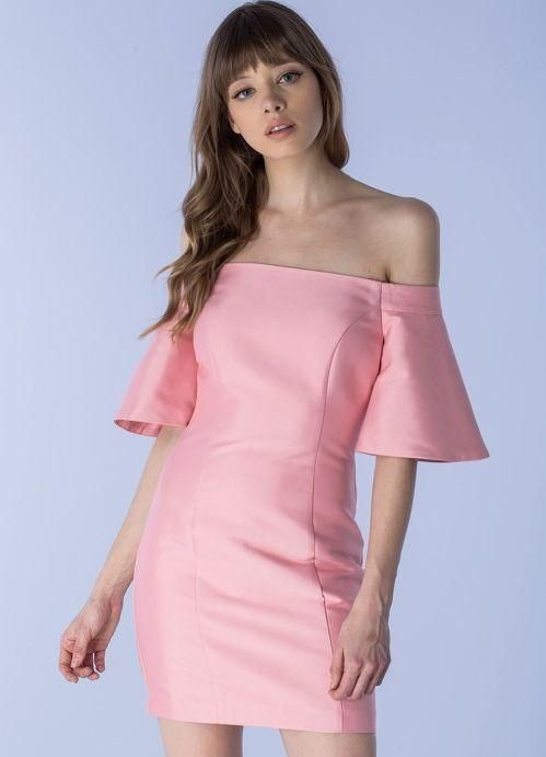 e54db8e41f67 Bell Sleeve Off The Shoulder Peony Pink Dress - Model is wearing size S -  Measurements taken from size S - 5 9