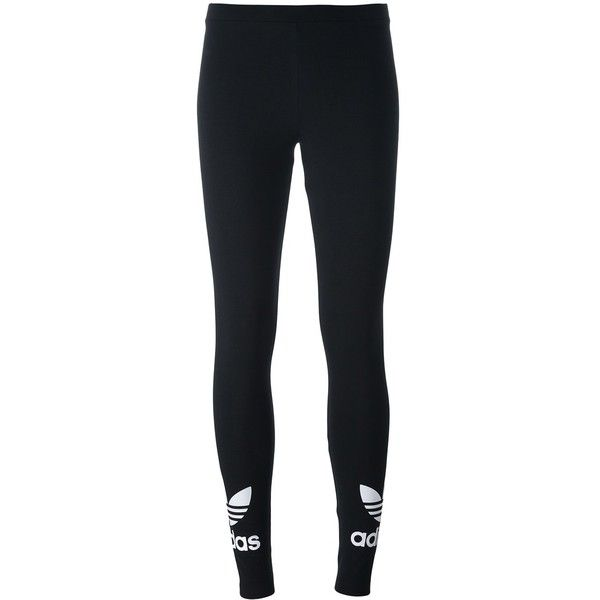 Adidas Originals \'Trefoil\' Leggings ($29) ❤ liked on Polyvore featuring pants, leggings, bottoms, black and white patterned pants, pull on pants, print leggings, black white leggings and legging pants