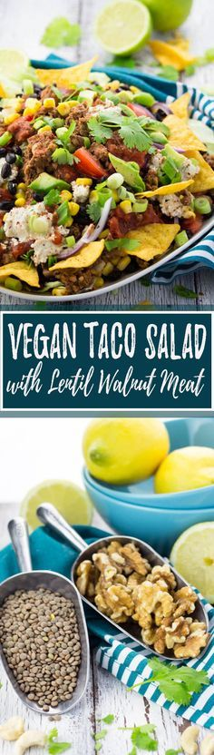 I can guarantee you nobody will miss the meat in this vegan taco salad with lentil walnut meat, black beans, and avocado! It's super delicious and so healthy! <3 | veganheaven.org