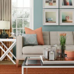 aqua and peach living room