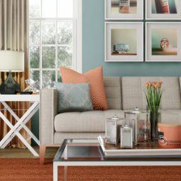 aqua and peach living room