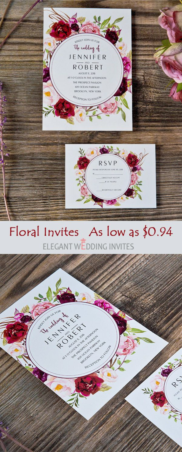 Cheap floral burgundy wedding invitation cards as low as$0.94