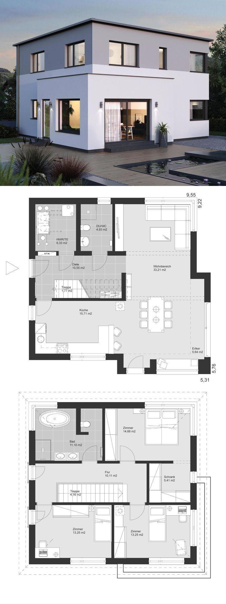 Nova cidade villa planta moderna com arquitetura de telhado plano, extensão de janela de sacada e escadas sem descanso …   – haus ideen