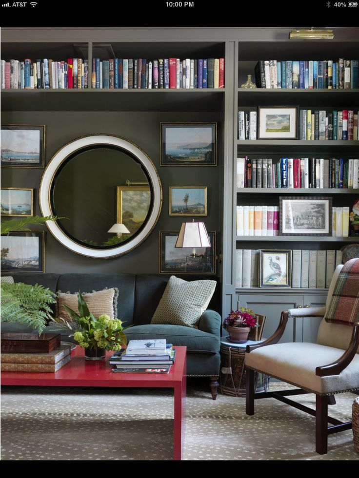 I just came upon this room.  It maybe the same room I saw about 10 years ago that will possibly always be my favorite room EVER. Why, it is a mixture of all the things I love, books , classic decor-some antiqued, layered textures, and old pics.  It's like coming home!!!!
