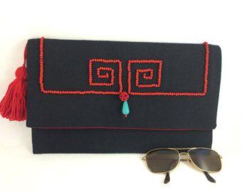 Embrague de sobres bolsa Boho étnicos clave griega