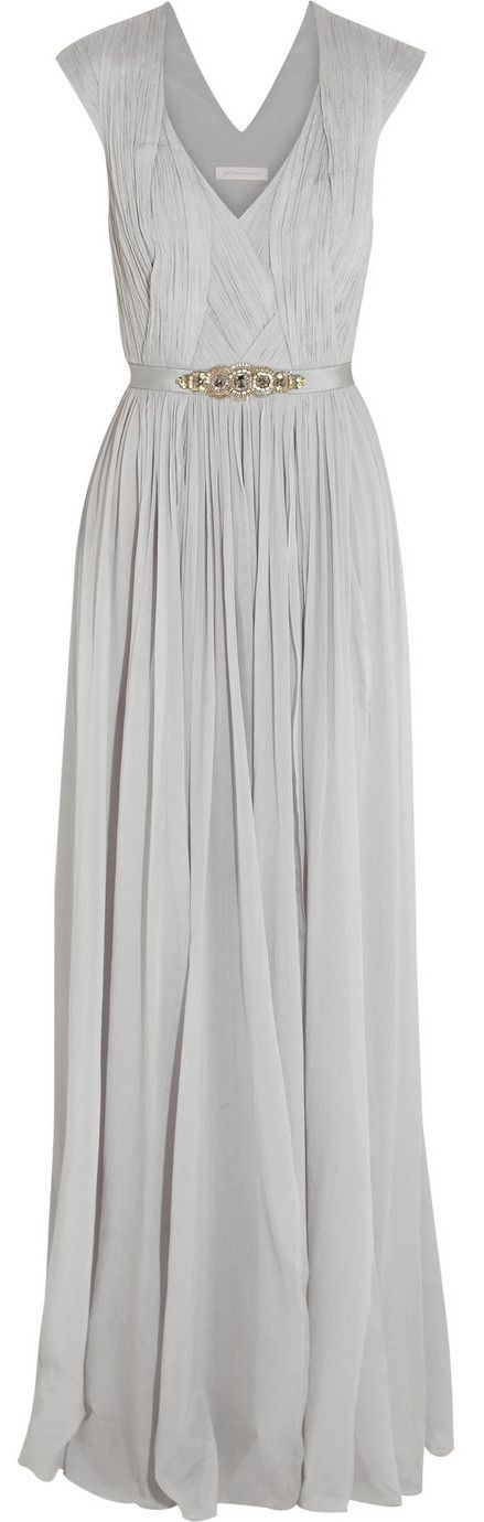 Love this as a bridesmaids dress in navy  Matthew Williamson Gray Embellished Stretch Silk Georgette Gown