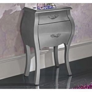 Nattbord i tre med to skuffer og overflate i sølv og dekorativt håndtak i stål.  $2,950.00