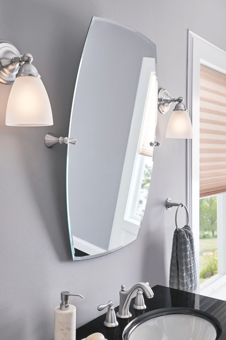 Brushed Nickel Mirror Ideas Onwhite Vanity