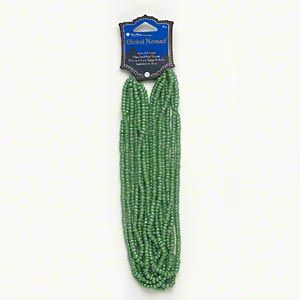 Seed bead, Blue Moon Beads®, glass, luster green, 4x3mm round. Sold per pkg of (8) 14-inch strands.