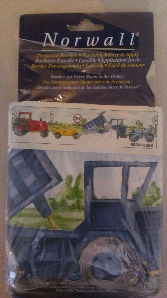 Norwall Prepasted Wallpaper Border Vehicles Children's 5 yds Tractor Dump Truck #Norwall