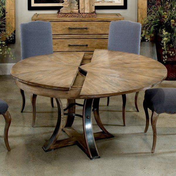 """Solid Oak Jupe Dining Table Rustic Transitional Iron Accented Base New Ships Free Converts 54"""" Closed 70"""" Opens"""
