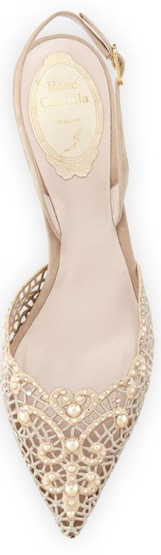 ~Rene Caovilla Embellished Lace Slingback Pump, Beige | The House of Beccaria#