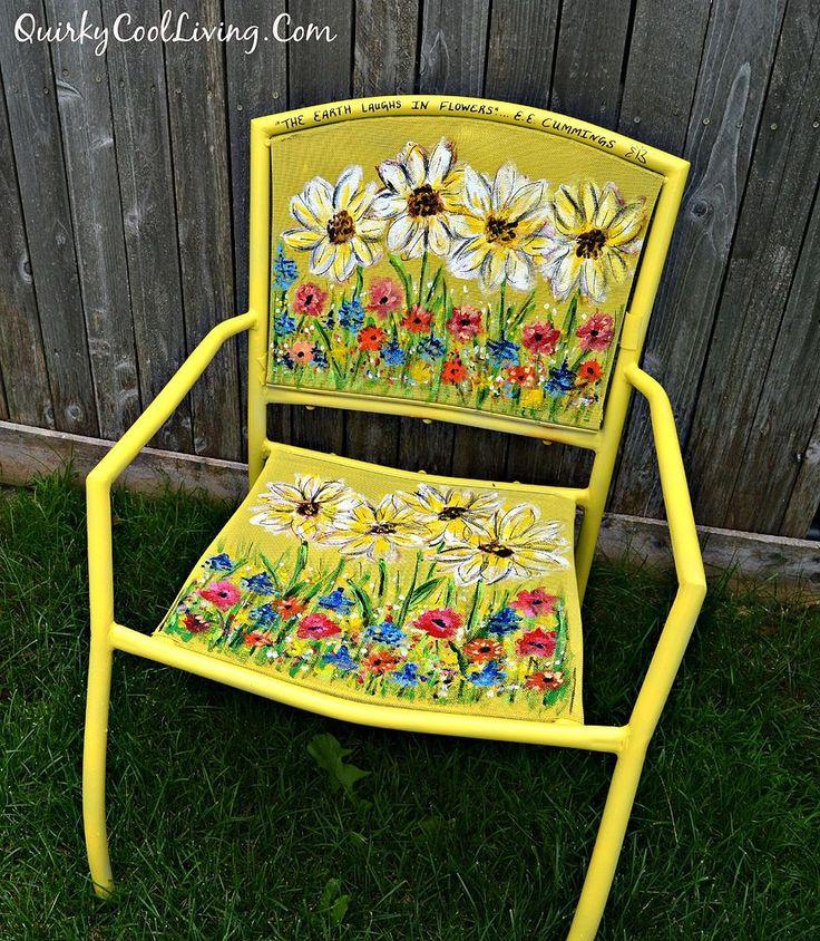 Painted Garden Chair Art – garden decor