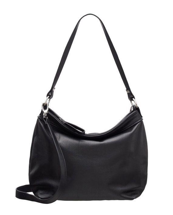 Leather hobo bag Black hobo bag Large leather hobo by Laroll
