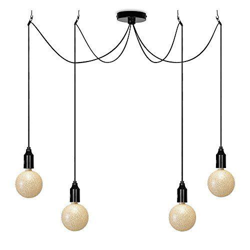 Modern Designer Style Gloss Black 4 Way Suspended Lampholder Ceiling Light Fitting With Designer 3w LED ES E27 Bling Glitter Sparkle Effect Bulbs MiniSun http://www.amazon.co.uk/dp/B0126U068M/ref=cm_sw_r_pi_dp_KB-Uvb106QYEB
