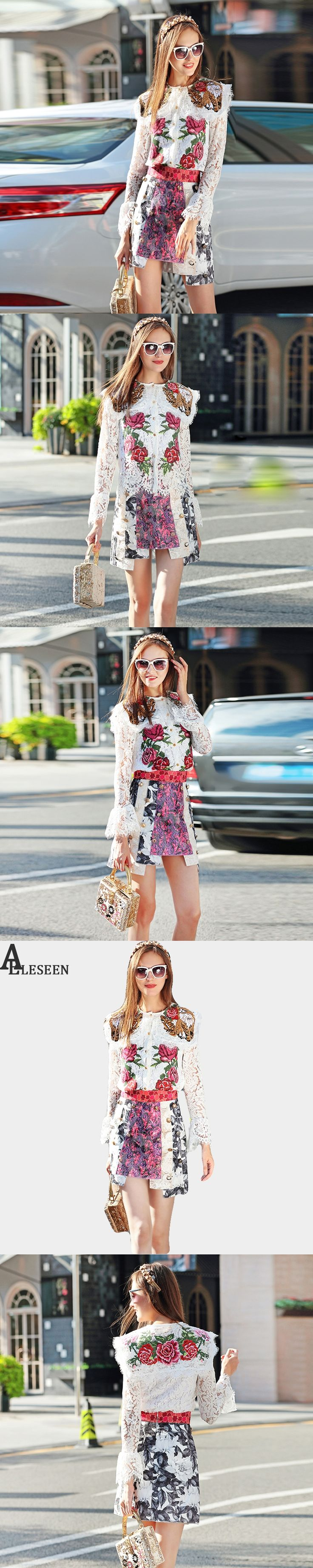 Autumn 2 Piece Set 2017 New Full Flare Sleeve Lace Embroidery Patchwork Elegant Top + Irregular Flowers Print Mini Skirts Suit