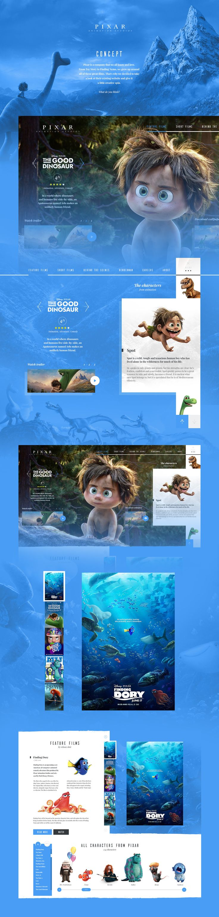 Pixar Website Concept on Behance