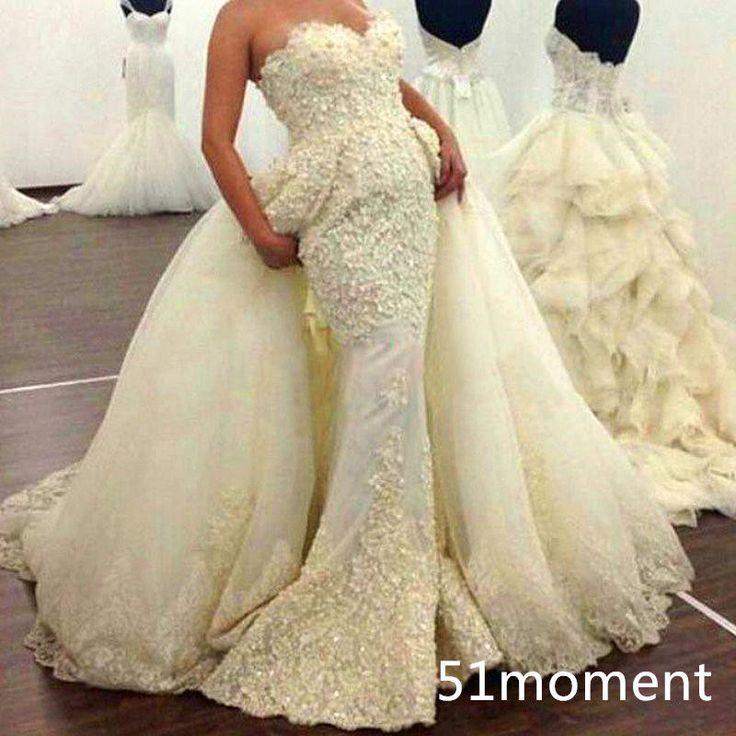 2015 luxury wedding dresses mermaid detachable train for Mermaid wedding dress with detachable train