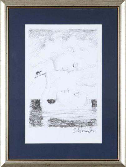"Rafal Olbinski  | (1943) ""La dama del lago"" technika mieszana | papier, 36,5 x 23,5 cm (w świetle paspartú)     Sygn. pd 'Olbinski'  Precio: 580 euros"