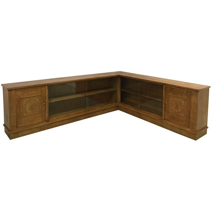 1940s Corner Sideboard in Oak   From a unique collection of antique and modern sideboards at https://www.1stdibs.com/furniture/storage-case-pieces/sideboards/